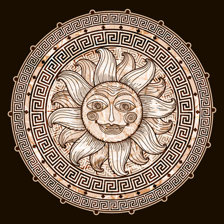 Sun in frame with a meander. Imitation antique graphics. hand drawing Vector