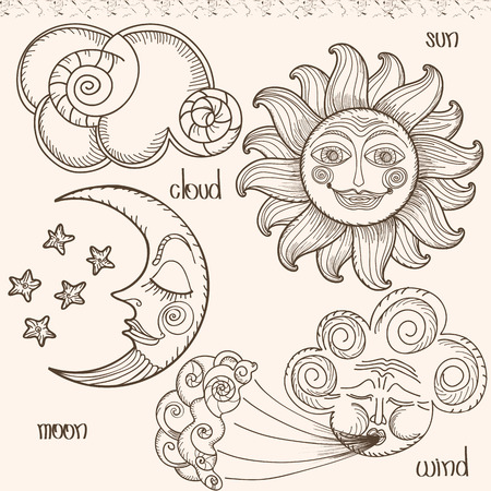 Image of the sun, moon, wind and clouds. Hand drawing. Imitation of old engravings
