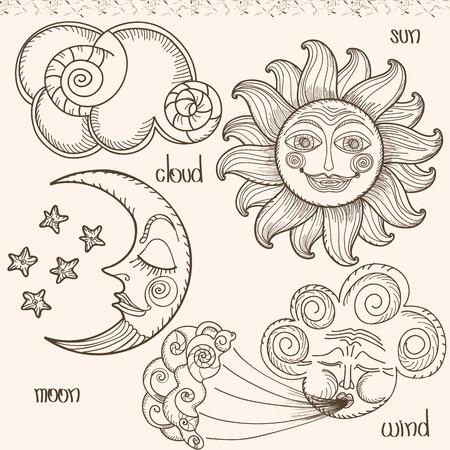 sol y luna: Imagen del sol, la luna, el viento y las nubes. Gráfico de la mano. Imitación de grabados antiguos Vectores