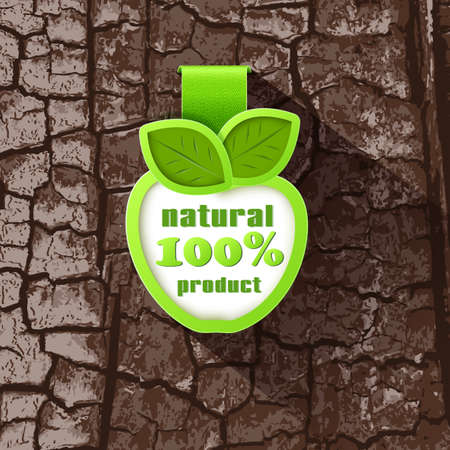 Label in the form of an Apple on a background of tree bark. 100% natural product Vector