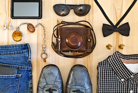 Set of mens clothing and accessories. Hipster concept photo