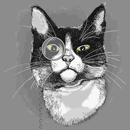 片眼鏡の猫の肖像画。図  イラスト・ベクター素材