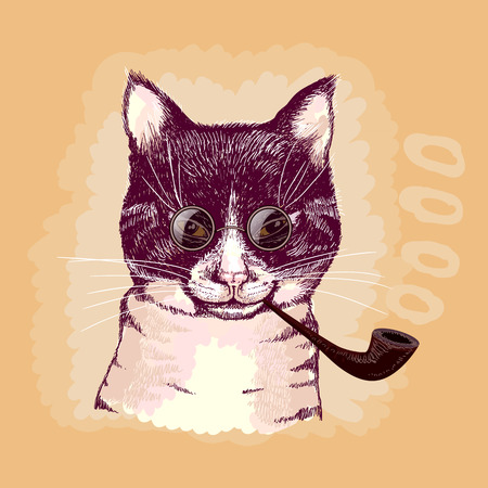 Portrait of a cat smoking a pipe and wearing glasses Vector