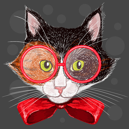 Portrait of a calico cat in red glasses and a bow