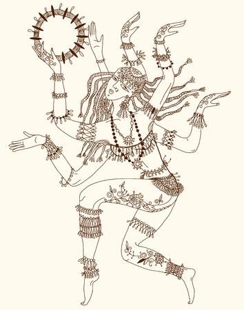 hindu goddess: Dancing-armed goddess  Freehand drawing  Illustration
