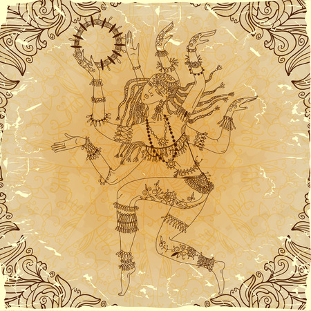 kali: Dancing-armed goddess  Freehand drawing  Imitation antique graphics