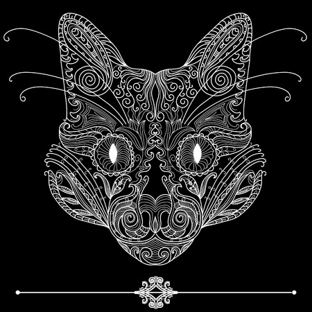 Ornamental cat. Hand drawing Vector