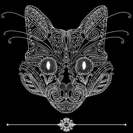 Ornamental cat. Hand drawing Illustration