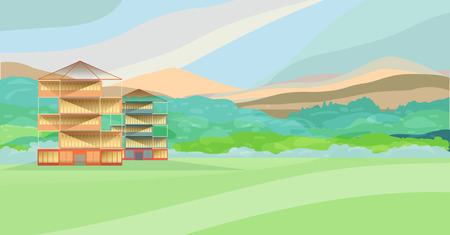 upland: Mountain landscape with buildings