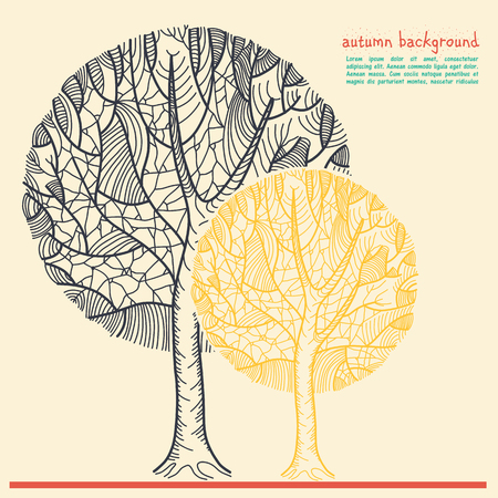 Stylized graphical tree. Freehand drawing