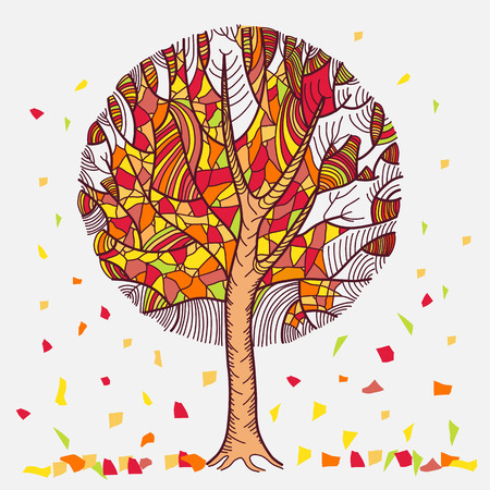 flown: Abstract autumn tree with leaves flown. Isolated on white background