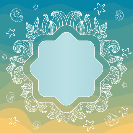 Frame with seashells, starfish, leaves and waves Vector