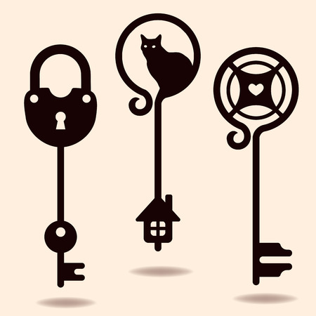 passkey: Unique silhouettes of keys