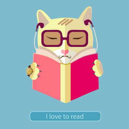 cat open: Cat with glasses reading a book. Icon style flat design