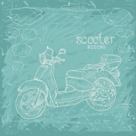 vespa piaggio: Disegnati a mano retrò scooter. Doodle stile