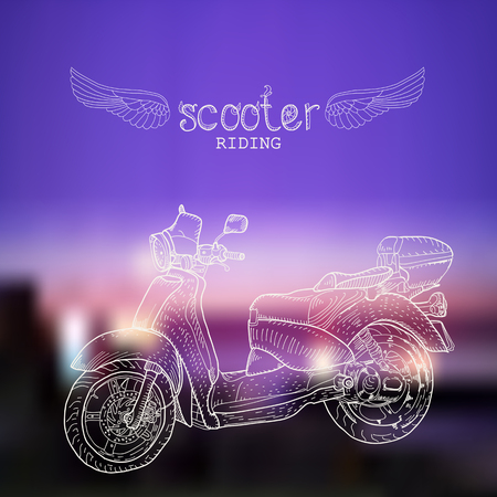 Hand-drawn scooter on the night blurred background.  Doodle style Vector