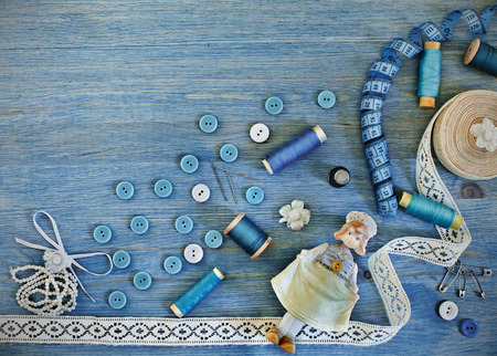 Buttons and thread, accessories for sewing and needlework photo