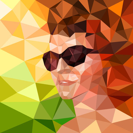 abstract portrait: Abstract portrait of a woman in sunglasses