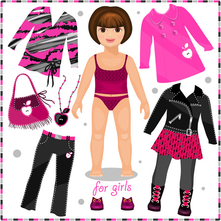 Paper doll with a set of fashion clothes.  Template for cutting.