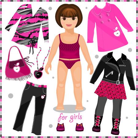 Papier pop met een set van mode kleding. Sjabloon voor het snijden. Stock Illustratie