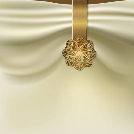 satin round: Unusual background with folds of fabric and gold brooch