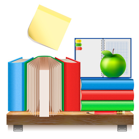 Books on a wooden shelf. A stack of books, notebook, pencil and apple isolated on a white background. School Supplies.
