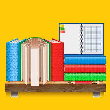 �tag�re bois: Livres sur une �tag�re en bois. Une pile de livres, cahier et un crayon sur fond jaune. Fournitures scolaires