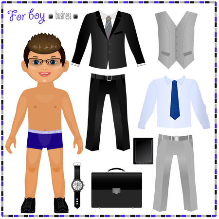 Paper doll with a set of clothes. Business style. Cute trendy boy. Template for cutting. Ilustração