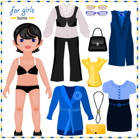 Paper doll with a set of elegant clothes. Business style.Cute fashion girl. Template for cutting.