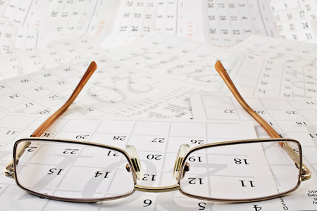 Points on the calendar pages. Points of focus. Stock Photo