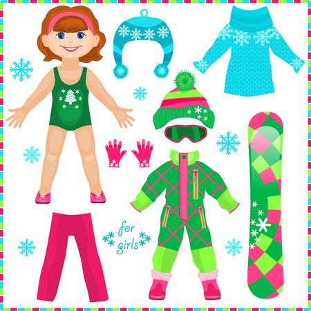 紙人形の服のセットです。かわいいファッションの女の子。切削のテンプレートです。