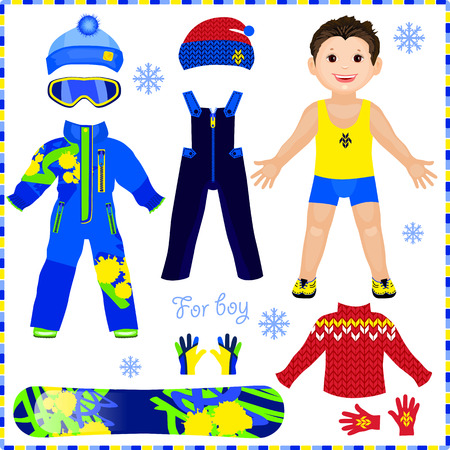 Paper doll with a set of clothes. Winter sportswear. Cute trendy boy. Template for cutting.