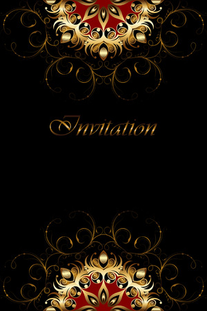 Luxury card with gold ornament on a black background. Elegant invitation Illustration