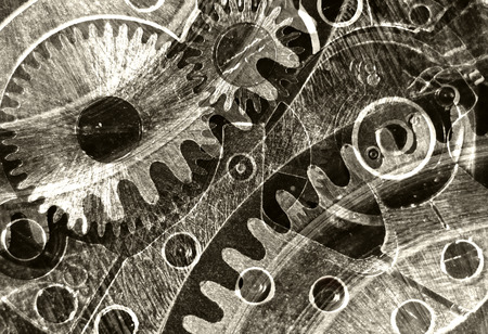 Abstract stylized collage of a mechanical device. Abstract background Standard-Bild