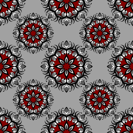 Seamless pattern with colorful abstract flowers