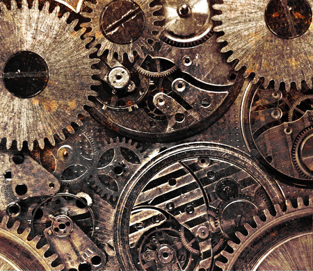 Metal abstract background with mechanism. Steampunk concept photo