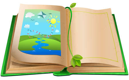 book background: Open book with an illustration of the landscape. Environmental concept. Isolated on white background