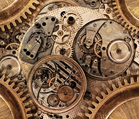 抽象的な背景。機械装置の抽象的な様式化されたコラージュ 写真素材