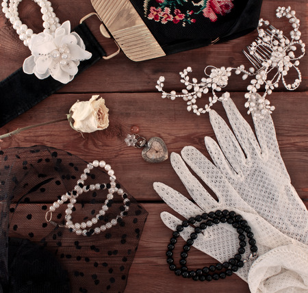 Womens vintage jewelery and accessories photo