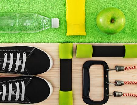 Accessoires voor fitnesslessen. Sport concept.