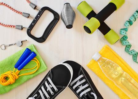 Sportartikelen voor fitness. atletische kader