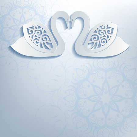 Wedding invitation with white swans. Swans cut from paper, 3d effect. Vector