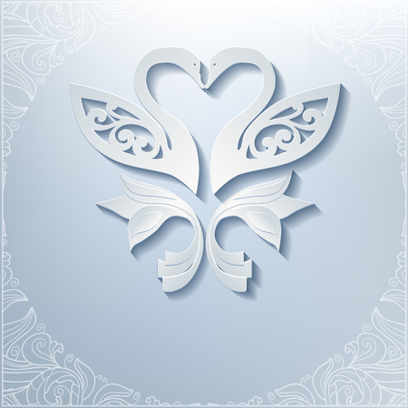 Wedding invitation with white swans and lacy frame. Swans cut from paper, 3d effect. Vector