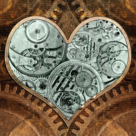 Metal heart ticking inside. Grungy background in the style of steam-punk Stok Fotoğraf - 37205102