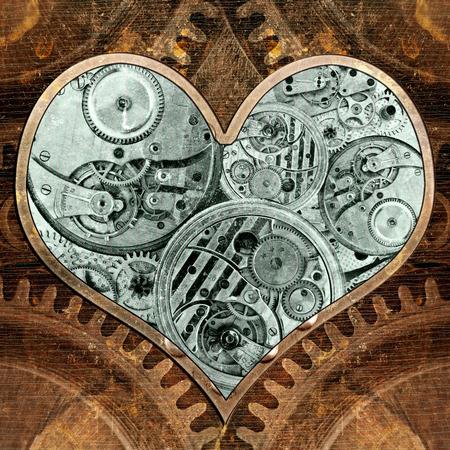 Metalen hart tikt naar binnen. Grungy achtergrond in de stijl van stoom-punk