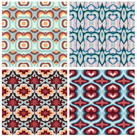Abstract geometric seamless pattern. A set of simple patterns with waves