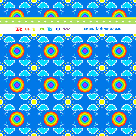 rain cartoon: Seamless pattern and a border with a rainbow, sun and clouds. Funny children wallpaper