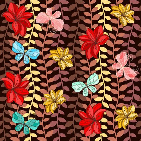 pedicle: Seamless pattern with colorful leaves, butterflies and flowers