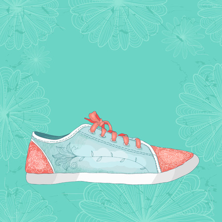 Sneakers with floral pattern. Painted by hand. Grungy blue background with flowers. Place for your text