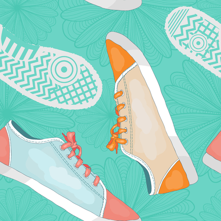 Seamless pattern with sneakers, footprints and flowers. drawing hand Vector